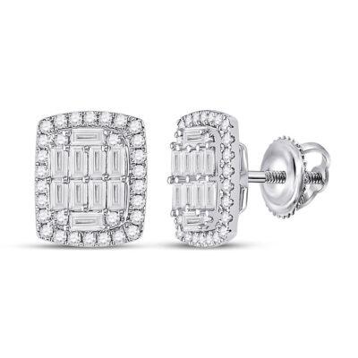 14kt White Gold Womens Baguette Diamond Rectangle Cluster Earrings 1 Cttw
