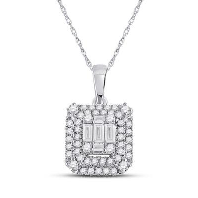 14kt White Gold Womens Baguette Diamond Square Pendant 1/2 Cttw