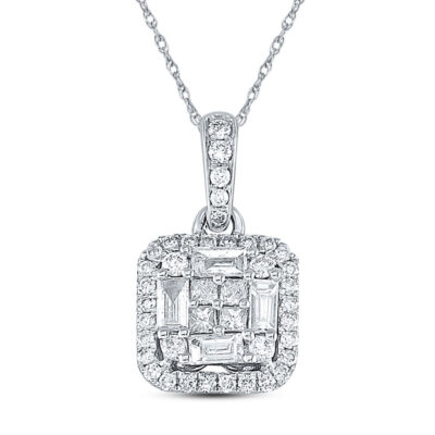 14kt White Gold Womens Baguette Diamond Fashion Pendant 5/8 Cttw