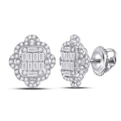 14kt White Gold Womens Baguette Diamond Quatrefoil Cluster Earrings 1 Cttw