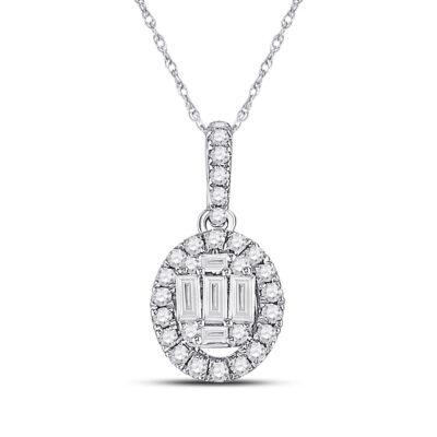 14kt White Gold Womens Baguette Diamond Oval Pendant 1/3 Cttw