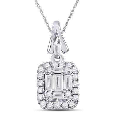 14kt White Gold Womens Baguette Diamond Square Cluster Pendant 1/4 Cttw