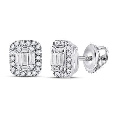 14kt White Gold Womens Baguette Diamond Cluster Earrings 7/8 Cttw