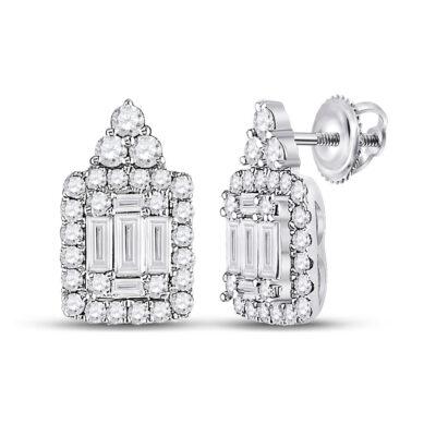 14kt White Gold Womens Baguette Diamond Cluster Earrings 1/2 Cttw