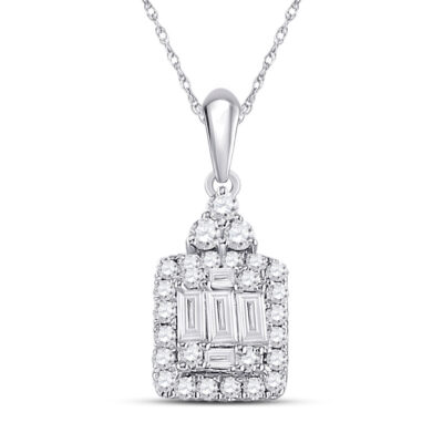 14kt White Gold Womens Baguette Diamond Square Cluster Pendant 1/3 Cttw