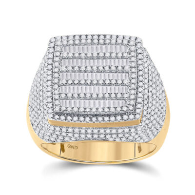10kt Yellow Gold Mens Baguette Diamond Square Ring 2 Cttw