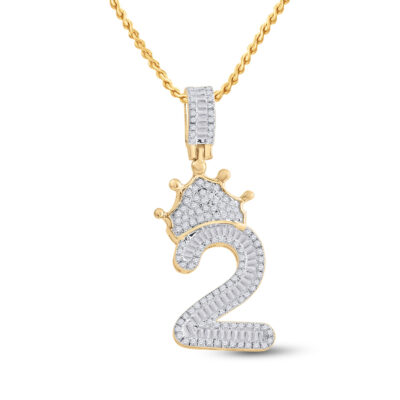 10kt Yellow Gold Mens Baguette Diamond Number 2 Crown Charm Pendant 3/4 Cttw