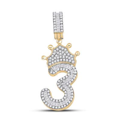10kt Yellow Gold Mens Baguette Diamond Number 3 Crown Charm Pendant 5/8 Cttw