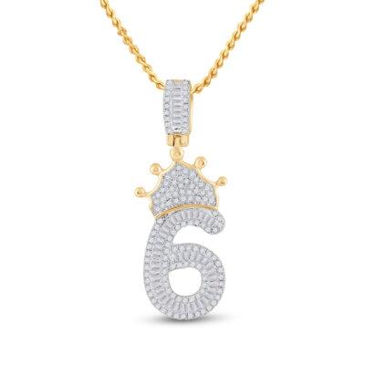 10kt Yellow Gold Mens Baguette Diamond Number 6 Crown Charm Pendant 3/4 Cttw