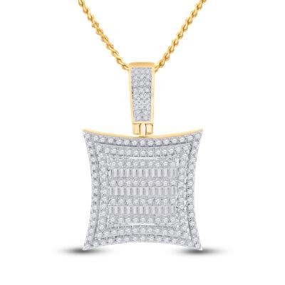 10kt Yellow Gold Mens Baguette Diamond Square Kite Charm Pendant 1-1/4 Cttw