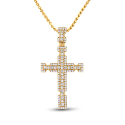14kt Yellow Gold Mens Baguette Diamond Cross Charm Pendant 1-3/8 Cttw