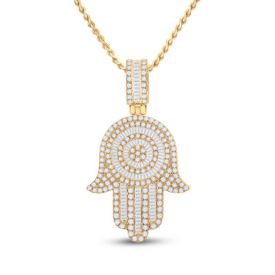 14kt Yellow Gold Mens Baguette Diamond Hamsa Hand Charm Pendant 3 Cttw