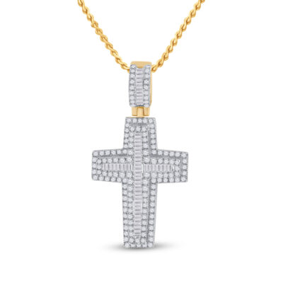 14kt Yellow Gold Mens Baguette Diamond Cross Charm Pendant 2-1/3 Cttw