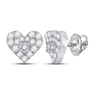 10kt White Gold Womens Round Diamond Heart Earrings 1/3 Cttw
