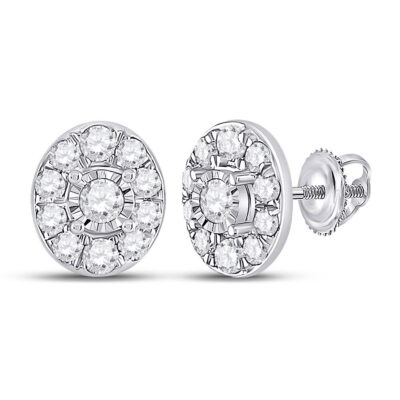 10kt White Gold Womens Round Diamond Oval Earrings 1/3 Cttw