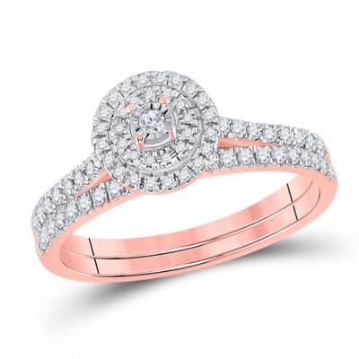 10kt Rose Gold Round Diamond Bridal Wedding Ring Band Set 1/3 Cttw