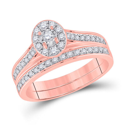 10kt Rose Gold Round Diamond Bridal Wedding Ring Band Set 1/2 Cttw