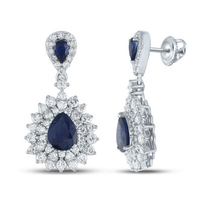 14kt White Gold Womens Pear Blue Sapphire Diamond Dangle Earrings 4-7/8 Cttw