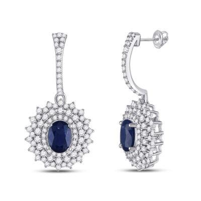14kt White Gold Womens Oval Blue Sapphire Diamond Dangle Earrings 3 Cttw
