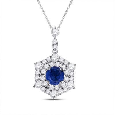 14kt White Gold Womens Round Blue Sapphire Diamond Fashion Pendant 5/8 Cttw