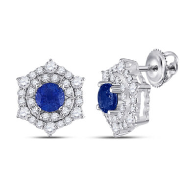 14kt White Gold Womens Round Blue Sapphire Diamond Halo Earrings 1-1/4 Cttw