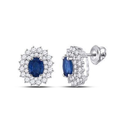 14kt White Gold Womens Oval Blue Sapphire Diamond Halo Earrings 1-3/8 Cttw