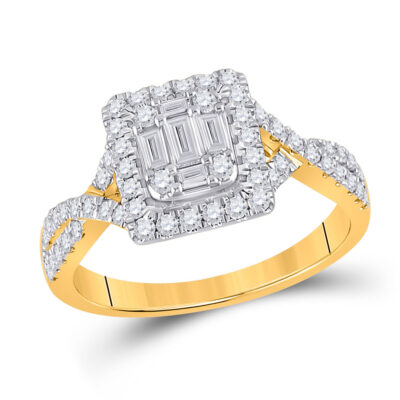 14kt Yellow Gold Womens Baguette Diamond Square Ring 5/8 Cttw