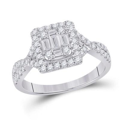 14kt White Gold Womens Baguette Diamond Square Ring 5/8 Cttw