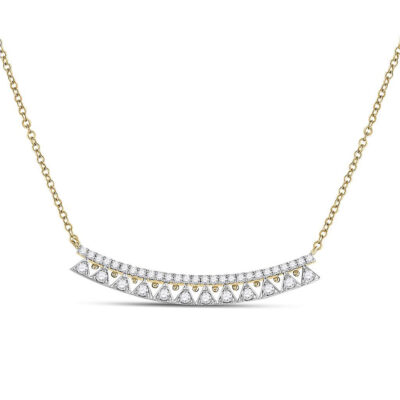 14kt Yellow Gold Womens Round Diamond Curved Bar Necklace 1/2 Cttw