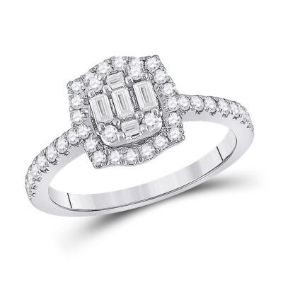 14kt White Gold Womens Baguette Diamond Cluster Ring 5/8 Cttw