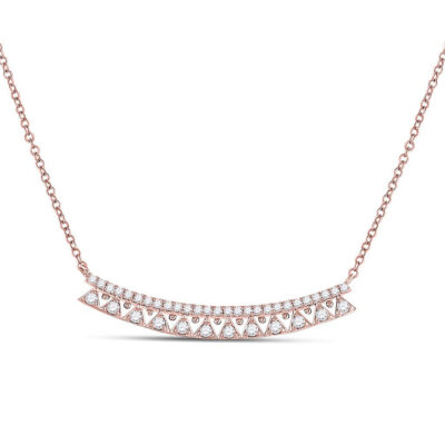 14kt Rose Gold Womens Round Diamond Curved Bar Necklace 1/2 Cttw