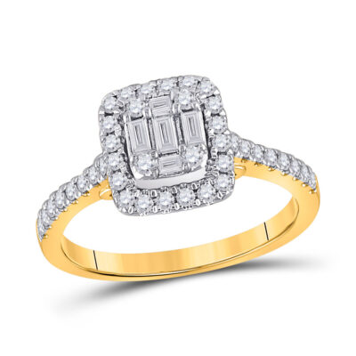 14kt Yellow Gold Womens Baguette Diamond Square Ring 1/2 Cttw
