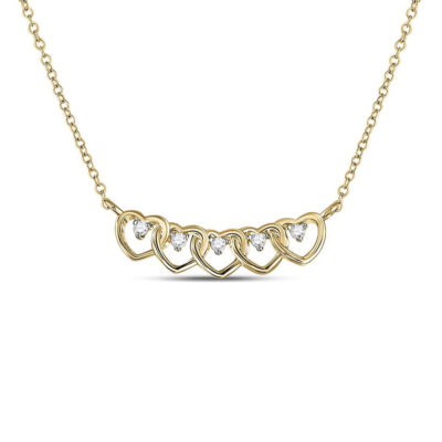 14kt Yellow Gold Womens Round Diamond Heart Necklace 1/20 Cttw