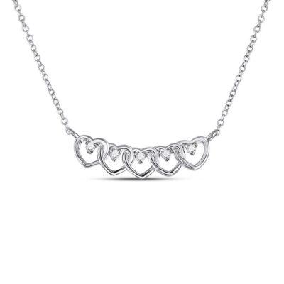 14kt White Gold Womens Round Diamond Heart Necklace 1/20 Cttw