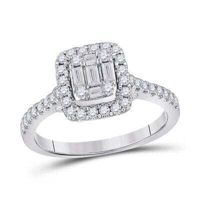 14kt White Gold Womens Baguette Diamond Square Ring 1/2 Cttw