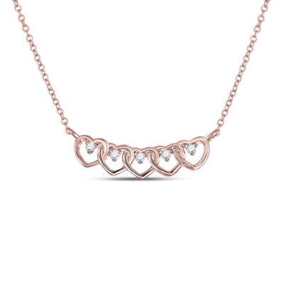 14kt Rose Gold Womens Round Diamond Heart Necklace 1/20 Cttw