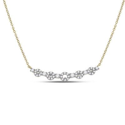 14kt Yellow Gold Womens Round Diamond Circle Bar Necklace 1/3 Cttw