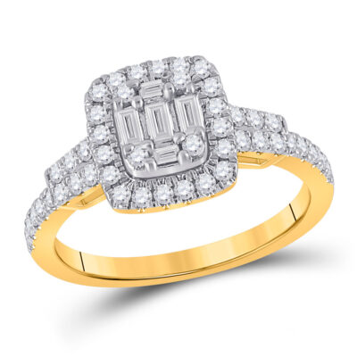 14kt Yellow Gold Womens Baguette Diamond Square Ring 3/4 Cttw