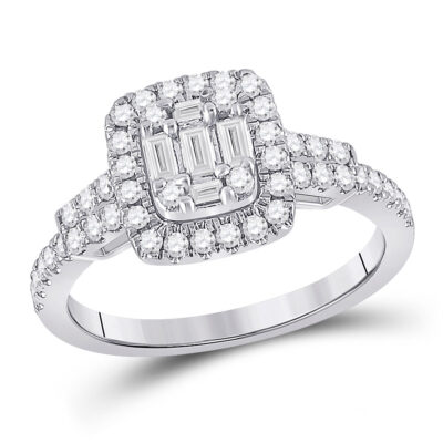 14kt White Gold Womens Baguette Diamond Square Ring 3/4 Cttw