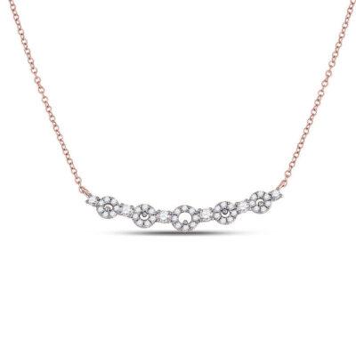 14kt Rose Gold Womens Round Diamond Circle Bar Necklace 1/3 Cttw