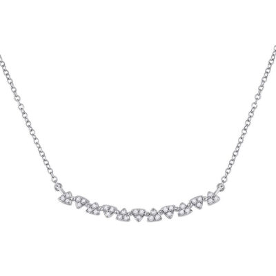 14kt White Gold Womens Round Diamond Curved Bar Necklace 1/6 Cttw