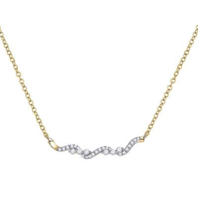 14kt Yellow Gold Womens Round Diamond Bar Necklace 1/5 Cttw