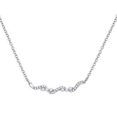 14kt White Gold Womens Round Diamond Bar Necklace 1/5 Cttw