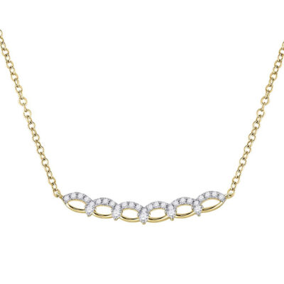 14kt Yellow Gold Womens Round Diamond Bar Necklace 1/3 Cttw