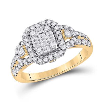 14kt Yellow Gold Womens Baguette Diamond Cluster Ring 3/4 Cttw