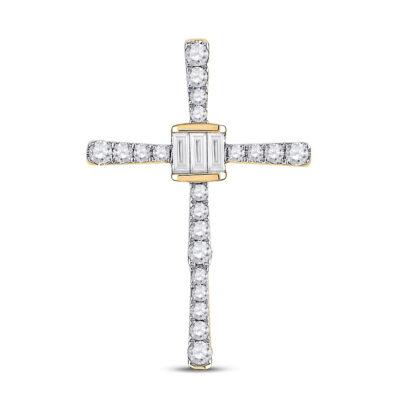 14kt Yellow Gold Womens Baguette Round Diamond Cross Pendant 5/8 Cttw
