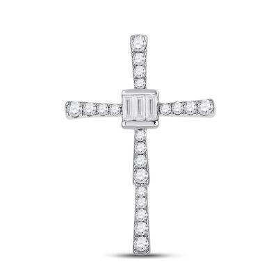 14kt White Gold Womens Baguette Diamond Cross Pendant 5/8 Cttw