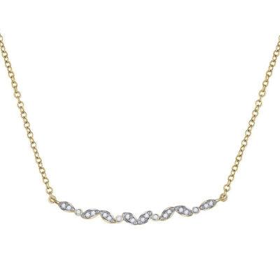 14kt Yellow Gold Womens Round Diamond Bar Necklace 1/10 Cttw