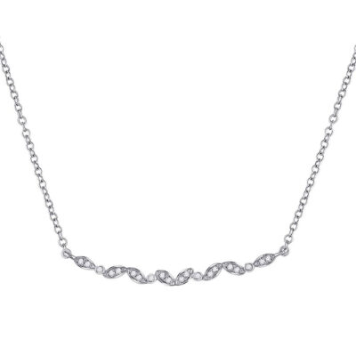 14kt White Gold Womens Round Diamond Bar Necklace 1/10 Cttw