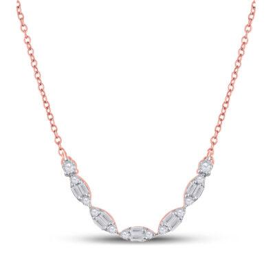 14kt Rose Gold Womens Baguette Diamond Fashion Necklace 1/2 Cttw